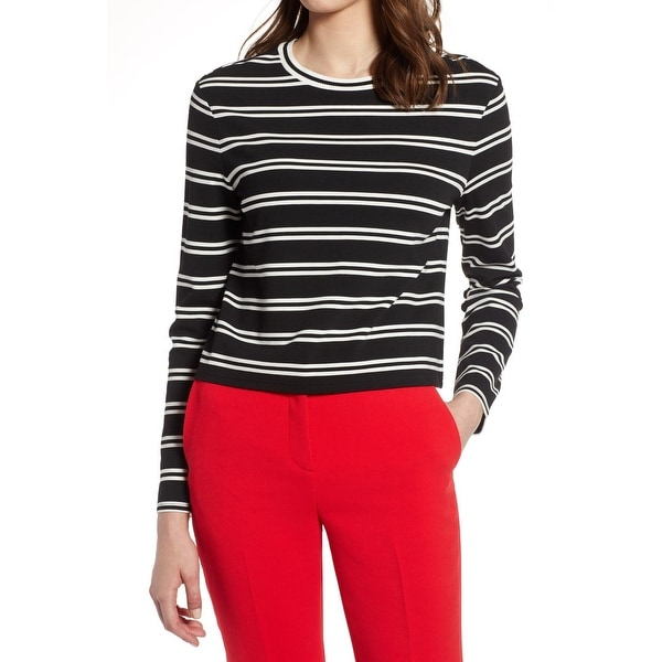 b63f65cf5d Shop Halogen Black White Womens Medium M Striped Long Sleeve Knit Top -  Free Shipping On Orders Over $45 - Overstock - 28372109