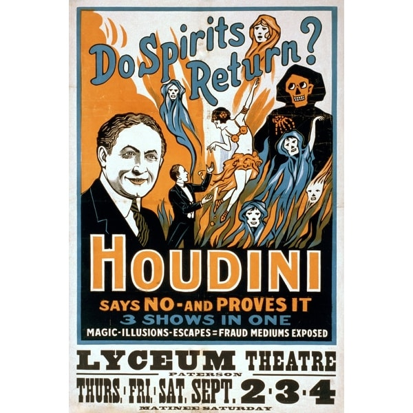 Do Spirits Return? Houdini Says NO - Proves It Show - Vintage Theater Advertisement (Keepsake Tin)
