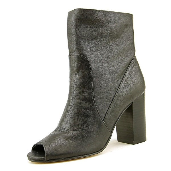 Chinese Laundry Talk Show Women Peep-Toe Leather Black Mid Calf Boot