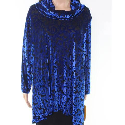 Ruby Rd. Womens Blouse Blue Black Size 2X Plus Cowl Neck Velvet Stretch