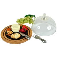 Picnic at Ascot Provence Glass Dome Bamboo & Slate Cheese Set  (CB32)
