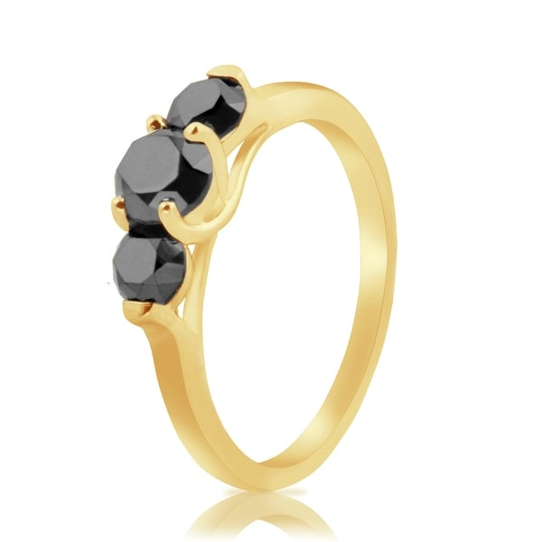 Prism Jewel 1.57CT Round Brilliant Cut Black Color Natural Diamond 3-Stone Ring
