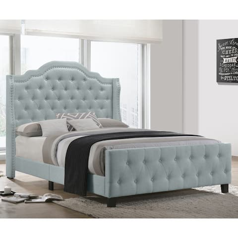 Best Quality Furniture Button Tufted Beds with Chrome Silver Nailhead Trim