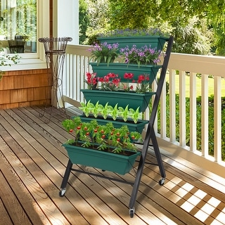 Kinbor 5-Tier Vertical Raised Garden Bed, Elevated Freestanding Planter Box with 5 Containers, Herb Flower Plant Stand On Wheels