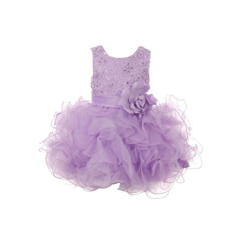 Baby Girls Lilac Lace Sequin Multi Layer Ruffle Flower Girl Dress