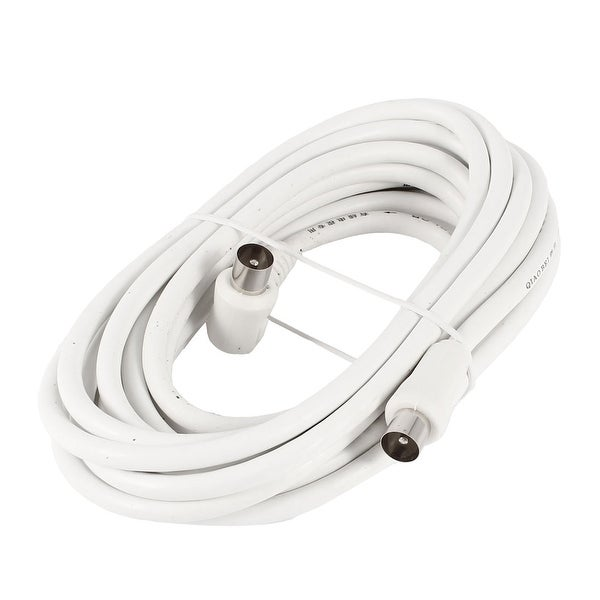 Unique Bargains TV Television Antenna Coaxial PAL Male to Male Connector Cable 5M White
