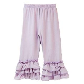 Baby Girls Lavender Triple Tier Waterfall Ruffle Cuff Soft Cotton Pants 1T