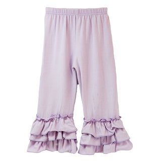 Little Girls Lavender Triple Tier Waterfall Ruffle Cuff Soft Cotton Pants 5