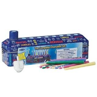 46pc Complete Hanukkah Tin Kit - Menorah Candles and Dreidel