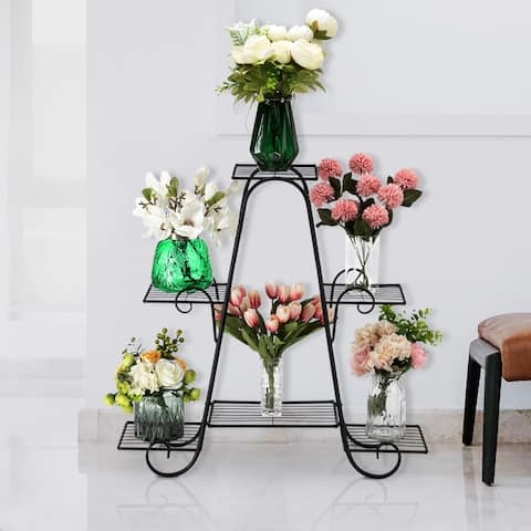 """31"""" Arch 4 Layers 6 Vertical Stripes Potted Plant Rack Frame Stand"""