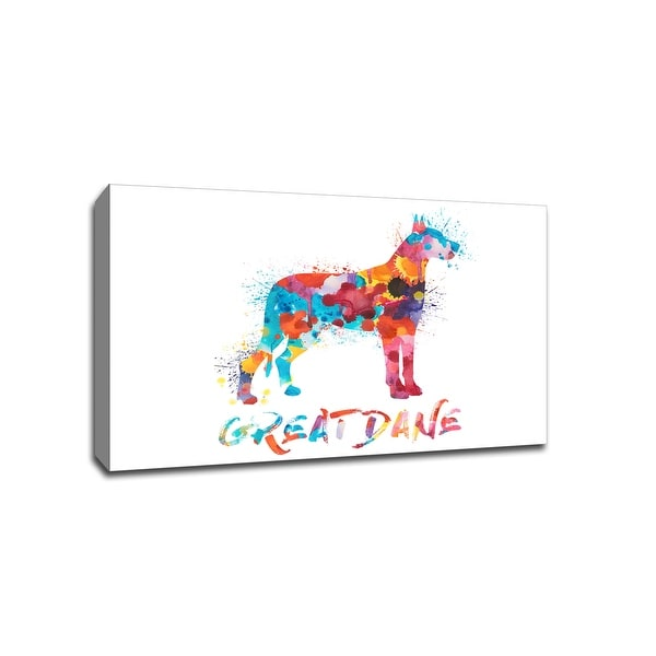 Great Dane - Dog and Cat Watercolor Splatter Art - 30x20 Gallery Wrapped Canvas