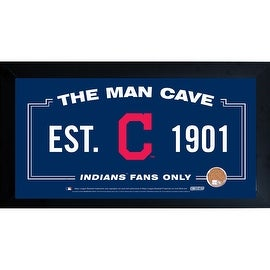 Cleveland Indians Man Cave Framed 10x20 Sign w/ Authentic Game-Used Dirt Capsule ()