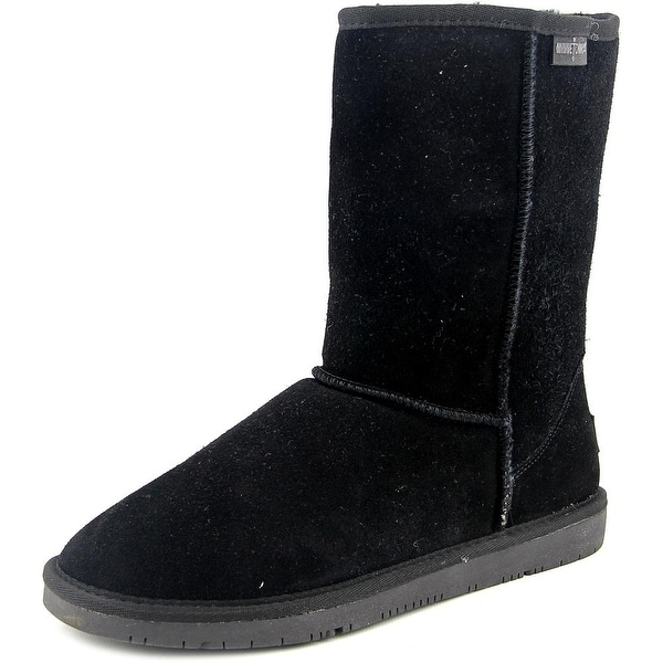 Minnetonka Olympia Short Boot Women Round Toe Suede Black Winter Boot