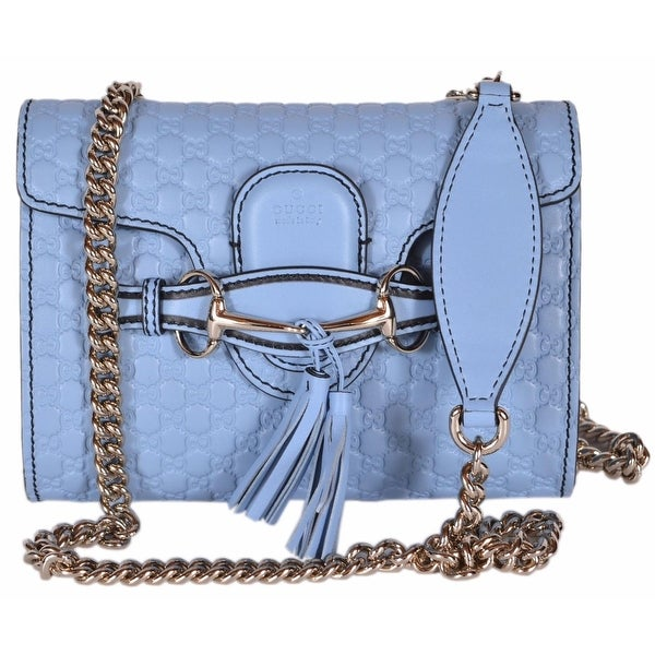 586e28942cd4 Gucci 449636 Blue Micro GG Guccissima Leather MINI Emily Crossbody Purse Bag