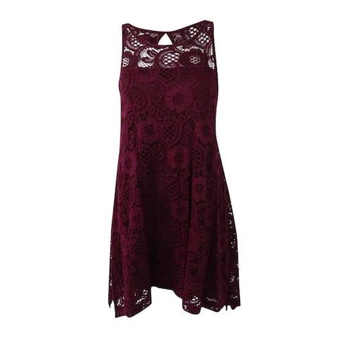 Signature by Robbie Bee Women's Petite Lace Handkerchief-Hem Dress (PS, Wine) - PS