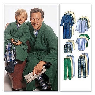 Boys'/Men's Robe With Tie Belt, Top, Pull-On Pants or Shorts-MEN (SML-MED-LRG-XLG) -*SEWING PATTERN*
