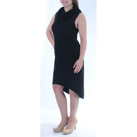 3d0bf595a0d CHELSEA SKY Womens Black Sleeveless Cowl Neck Below The Knee Hi-Lo Dress  Size