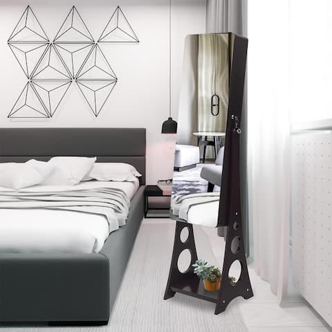 Full Mirror Wooden Floor Standing Jewelry Storage Mirror Cabinet - 3Layer-4Drawers