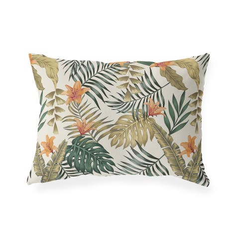 TROPICAL LEAVES and FLOWERS Indoor Outdoor Lumbar Pillow by Kavka Designs - 20X14