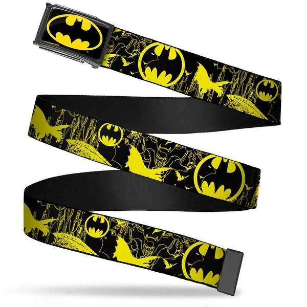 Batman Fcg Black Yellow Chrome Batman Bat Signal Bats Collage Black Web Belt