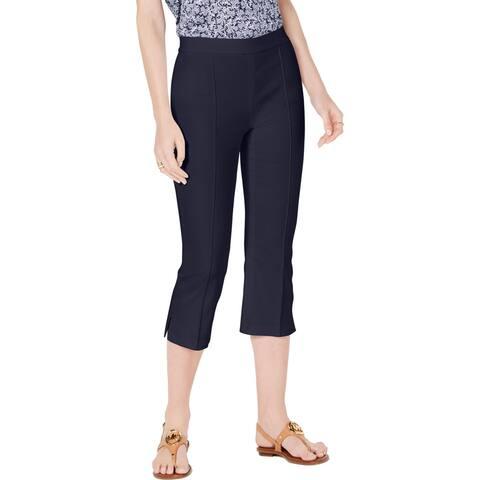 MICHAEL Michael Kors Womens Petites Capri Pants High Rise Pintuck - True Navy