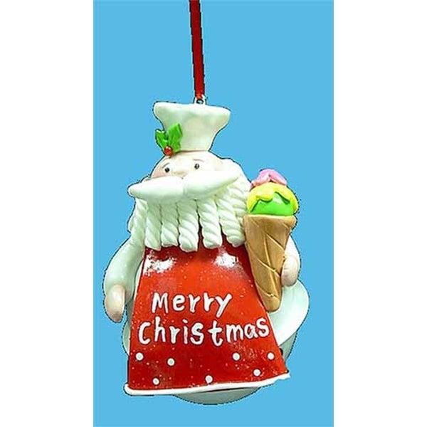 "4"" Santa Claus Chef with Ice Cream Cone Jingle Bell Christmas Ornament - multi"