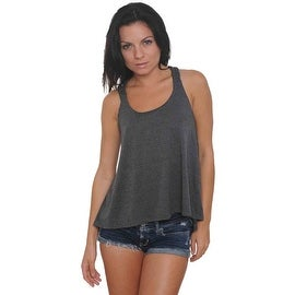 Women's Braided Back Tank Top Solid Colors Juniors Hi-Low Athletic Shirt