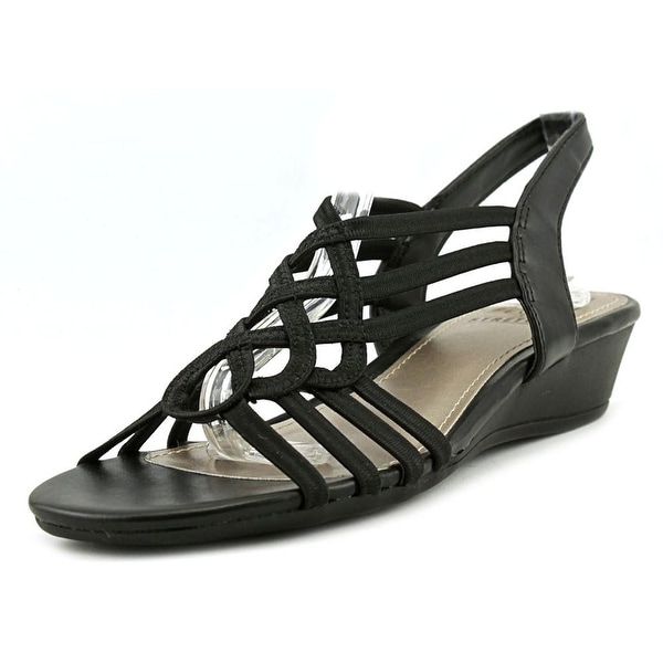 Impo Reaction Women Open Toe Canvas Black Wedge Sandal