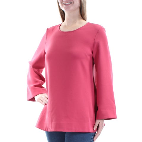 ALFANI Womens Pink Kimono Sleeve Jewel Neck Top Size: 8