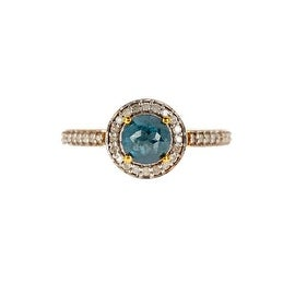 14k Gold Pave White & Blue Diamond Ring