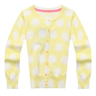 Richie House Little Girls White Yellow Dotted Sweet Cardigan 3-4