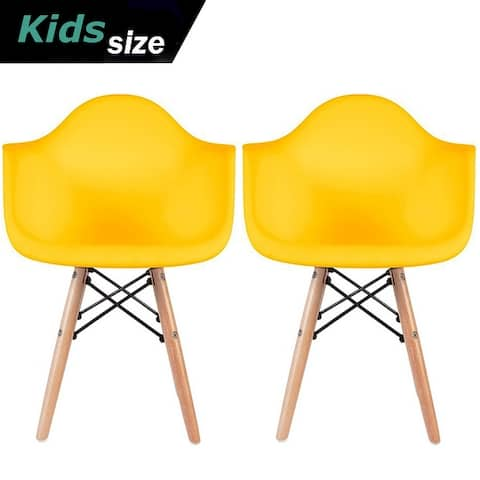 2xhome Set of 2 Modern Kids Size Molded Plastic Armchair With ArmColor Seat for Children's Room Natural Wood Eiffel Legs
