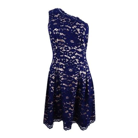 Vince Camuto Women's One-Shoulder Lace Dress - Navy