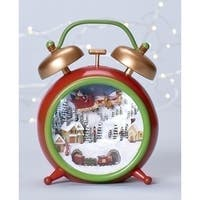 "6"" Amusements Musical Vintage-Style Alarm Clock with Christmas Village Scene"