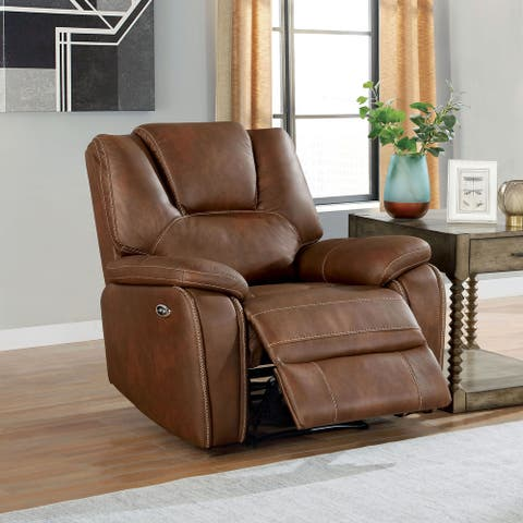 Furniture of America Traegher Transitional Faux Leather Power Recliner