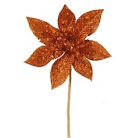 "11"" Copper Glitter Poinsettia Flower Artificial Christmas Spray Pick"