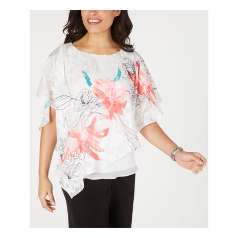 ALEX EVENINGS Womens White Floral Kimono Sleeve Top Size L
