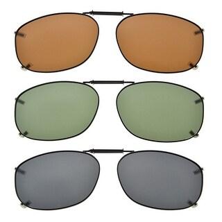"Eyekepper Grey/Brown/G15 Lens 3-pack Clip-on Polarized Sunglasses 2 1/8""x1 7/16"" Grey Lens"