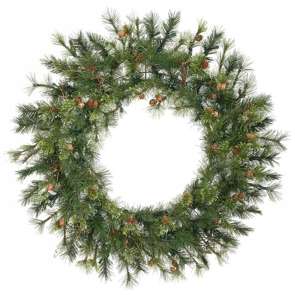"""36"""" Mixed Country Pine Artificial Christmas Wreath - Unlit - green"""