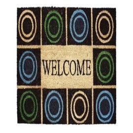 "J & M Home Fashions 10327 Vinyl Back Coir Circles Floor Mat, 18"" X 30"""
