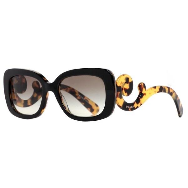 Prada SPR 27O NAI-0A7 Black/Havana Brown Women's Baroque Swirl Square Sunglasses - black/havana brown - 54mm-19mm-135mm