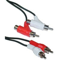 RCA Audio Piggyback Cable, 2 RCA Male to 2 RCA Male + RCA Female Piggyback, 12 foot