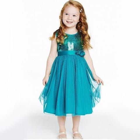 New European Girls Two Color Sequined Girls Dress