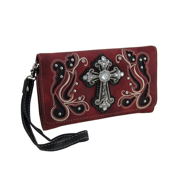 Classy Cross Elegant Embroidered Wallet w/Removable Straps