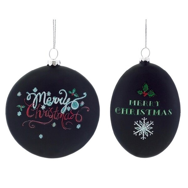 """Pack of 12 """"Merry Christmas"""" Chalkboard Disc Christmas Ornaments 4""""-5"""" - black"""