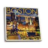 Boston, MA - Skyline at Night - LP Artwork (Set of 4 Ceramic Coasters)