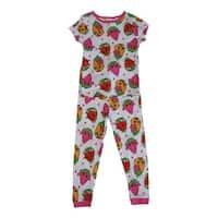 Shopkins Girls White Colorful Print Short Sleeve 2 Pcs Pajama Set