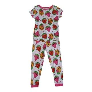 Shopkins Little Girls White Colorful Print Short Sleeve 2 Pcs Pajama Set
