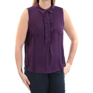 TOMMY HILFIGER $59 Womens New 1251 Purple Collared Sleeveless Casual Top L B+B