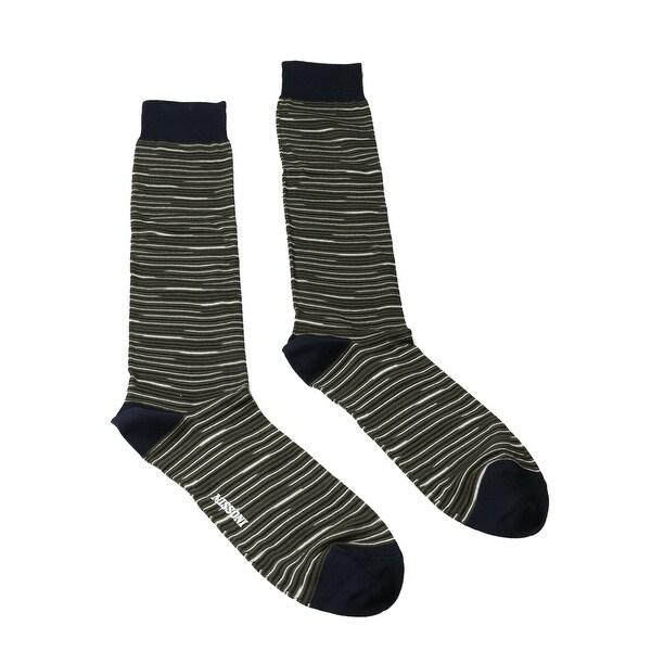 Missoni GM00CMU5231 0002 Olive/Navy Striped Knee Length Socks - M